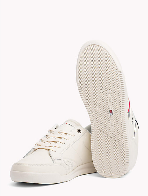 TOMMY HILFIGER Panelled Perforated Leather Trainers - OFF WHITE - TOMMY HILFIGER NEW IN - detail image 1