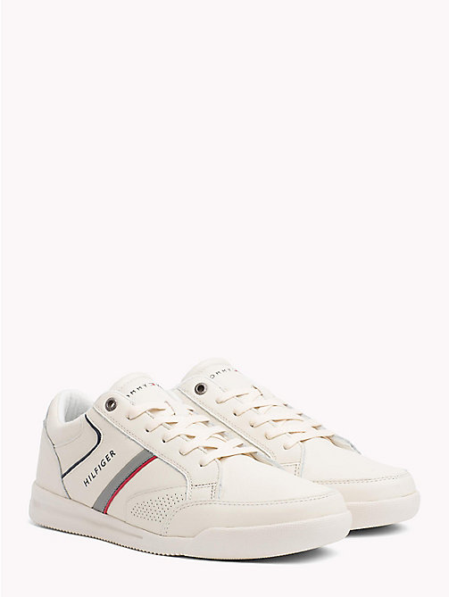 TOMMY HILFIGER Panelled Perforated Leather Trainers - OFF WHITE - TOMMY HILFIGER NEW IN - main image