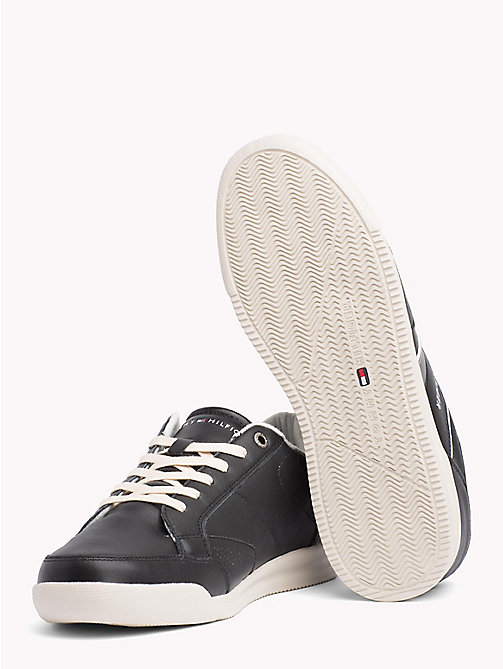 TOMMY HILFIGER Panelled Perforated Leather Trainers - BLACK - TOMMY HILFIGER Shoes - detail image 1