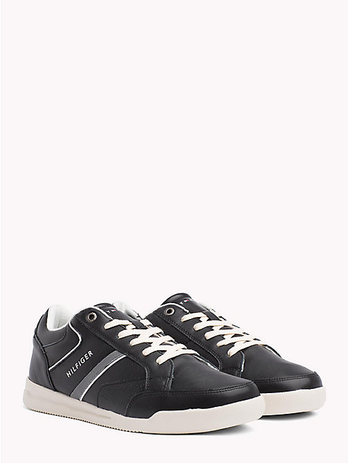 TOMMY HILFIGER Panelled Perforated Leather Trainers - BLACK - TOMMY HILFIGER NEW IN - main image