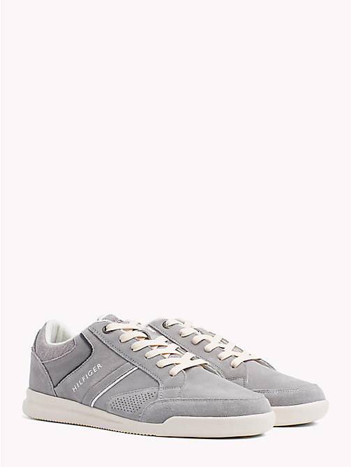TOMMY HILFIGER Panelled Suede Trainers - LIGHT GREY - TOMMY HILFIGER NEW IN - main image