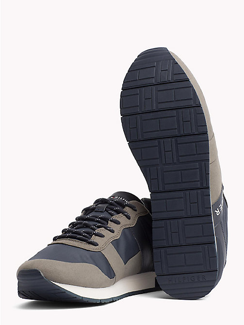 TOMMY HILFIGER Textile Mix Lace-Up Trainers - DUSTY OLIVE - TOMMY HILFIGER Best Sellers - detail image 1