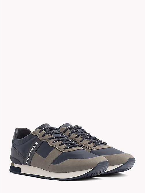 TOMMY HILFIGER Textile Mix Lace-Up Trainers - DUSTY OLIVE - TOMMY HILFIGER NEW IN - main image