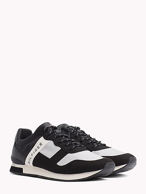 TOMMY HILFIGER Textile Mix Lace-Up Trainers - BLACK - TOMMY HILFIGER NEW IN - main image