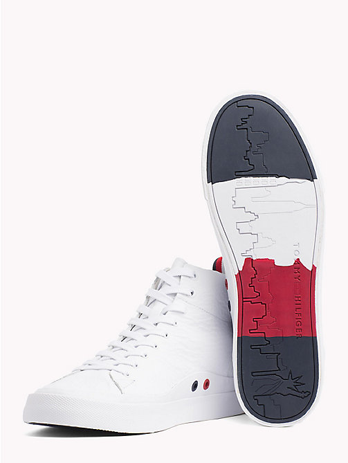 TOMMY HILFIGER Unlined Mid-Top Trainers - WHITE - TOMMY HILFIGER Best Sellers - detail image 1