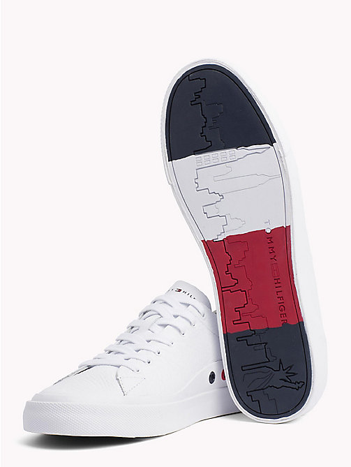 TOMMY HILFIGER Embossed Leather Trainers - WHITE - TOMMY HILFIGER Summer shoes - detail image 1