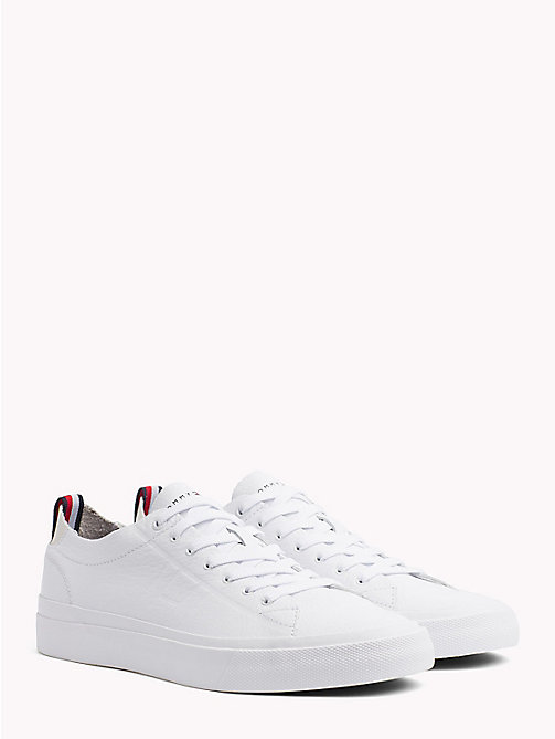 TOMMY HILFIGER Embossed Leather Trainers - WHITE -  NEW IN - main image