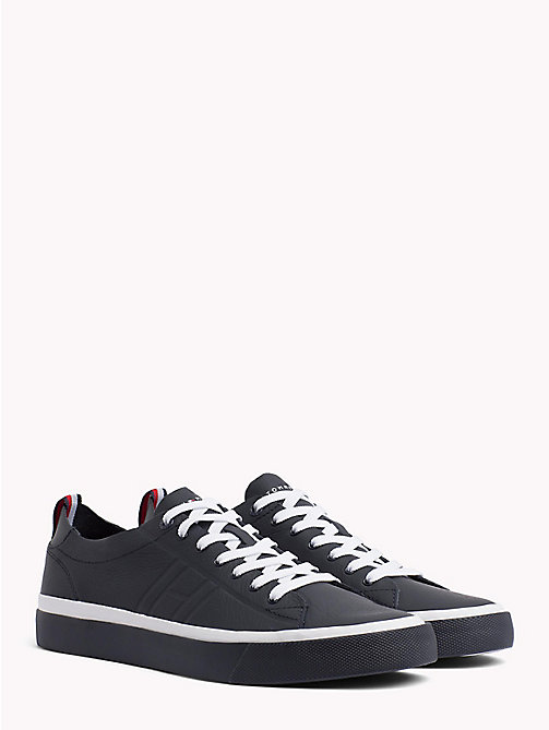 TOMMY HILFIGER Embossed Leather Trainers - MIDNIGHT - TOMMY HILFIGER Shoes - main image