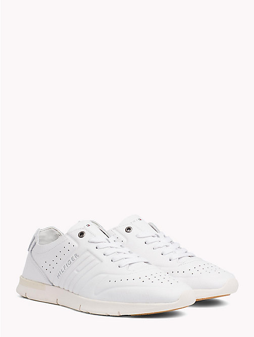 TOMMY HILFIGER Unlined Leather Running Trainers - WHITE - TOMMY HILFIGER NEW IN - main image