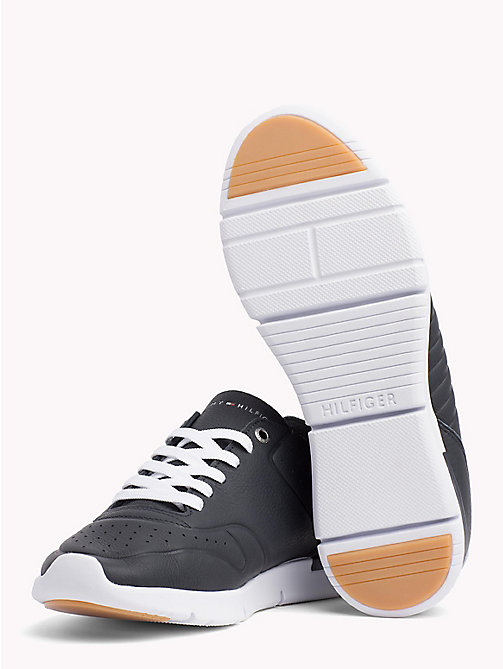 TOMMY HILFIGER Unlined Leather Running Trainers - MIDNIGHT - TOMMY HILFIGER NEW IN - detail image 1
