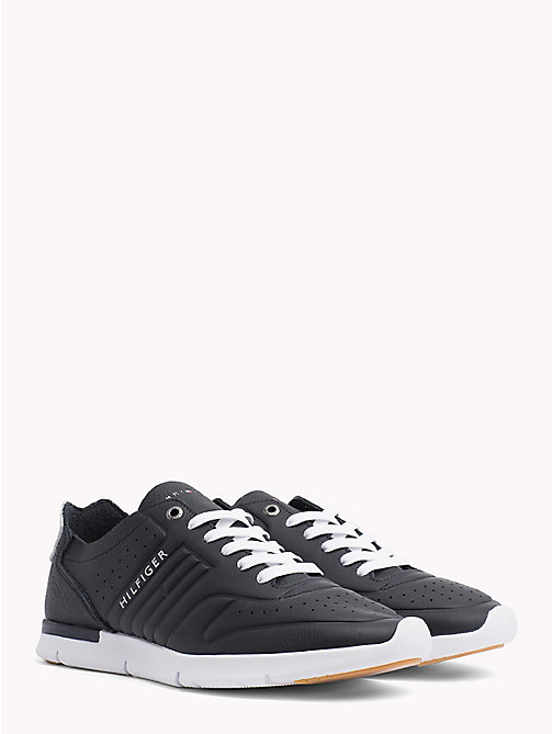 TOMMY HILFIGER Unlined Leather Running Trainers - MIDNIGHT - TOMMY HILFIGER NEW IN - main image