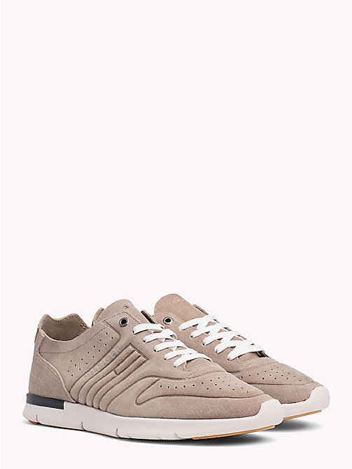 TOMMY HILFIGER Unlined Suede Running Trainers - TAUPE - TOMMY HILFIGER NEW IN - main image