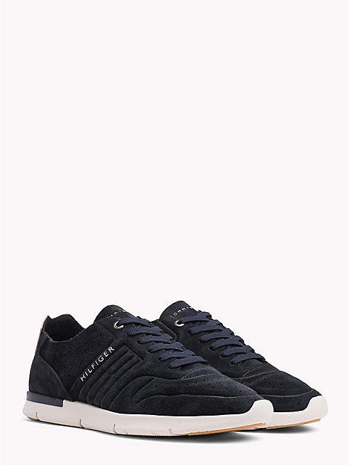 TOMMY HILFIGER Unlined Suede Running Trainers - MIDNIGHT - TOMMY HILFIGER Shoes - main image