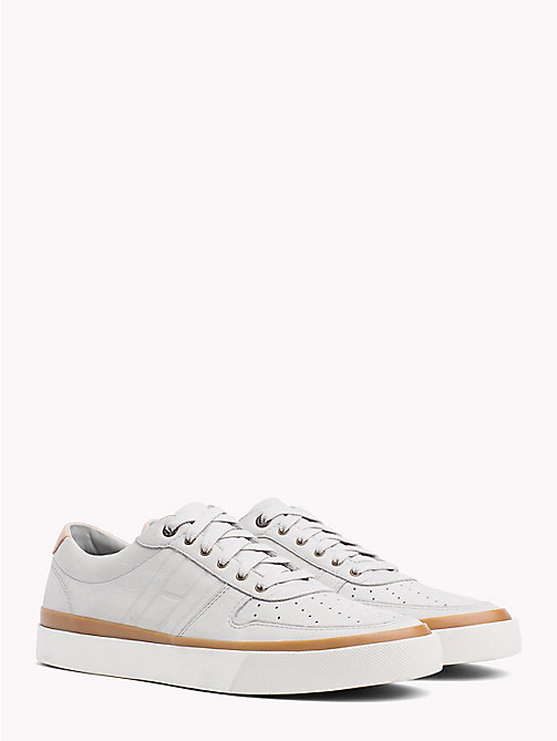 TOMMY HILFIGER Unlined Nubuck Leather Trainers - DIAMOND GREY - TOMMY HILFIGER NEW IN - main image