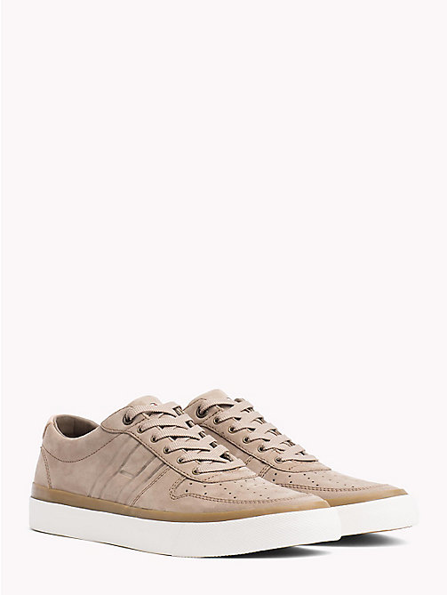 TOMMY HILFIGER Unlined Nubuck Leather Trainers - SHITAKE - TOMMY HILFIGER Shoes - main image