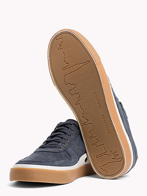 TOMMY HILFIGER Unlined Nubuck Leather Trainers - MIDNIGHT - TOMMY HILFIGER NEW IN - detail image 1