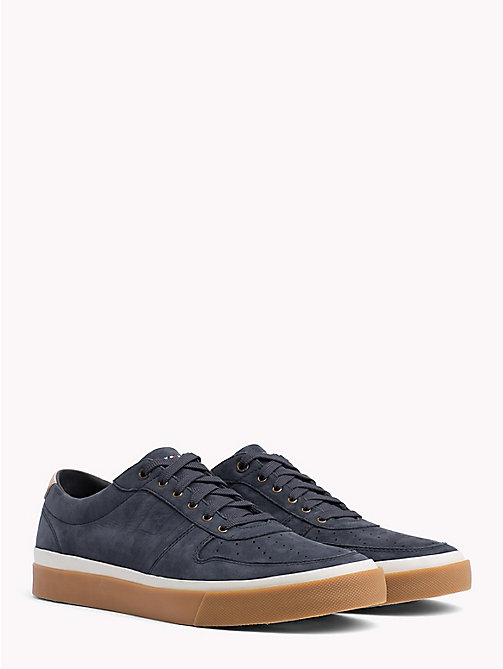 TOMMY HILFIGER Unlined Nubuck Leather Trainers - MIDNIGHT - TOMMY HILFIGER NEW IN - main image