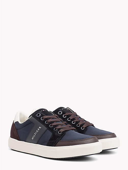 TOMMY HILFIGER Low Cut Colour-Blocked Trainers - MIDNIGHT-COFFEEBEAN - TOMMY HILFIGER NEW IN - main image