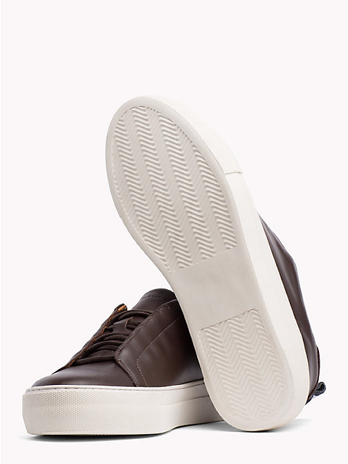 TOMMY HILFIGER Leather Cupsole Trainers - COFFEE BEAN - TOMMY HILFIGER NEW IN - detail image 1