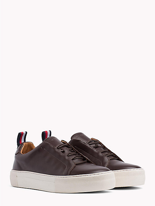 TOMMY HILFIGER Leather Cupsole Trainers - COFFEE BEAN - TOMMY HILFIGER NEW IN - main image