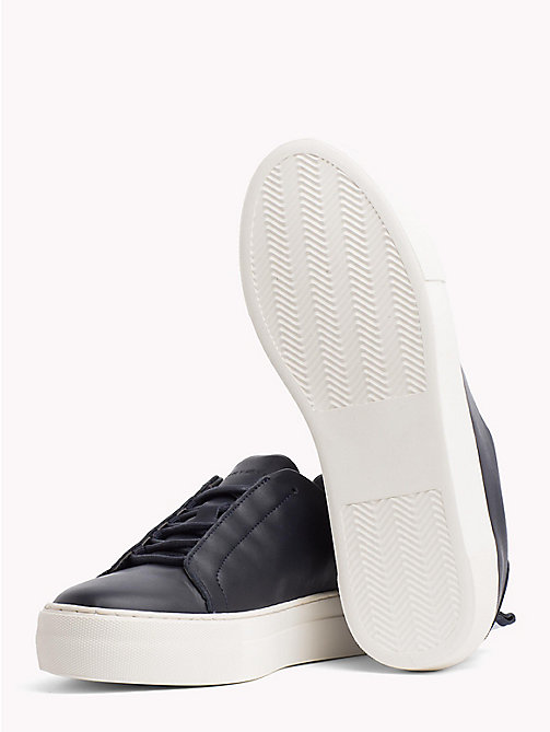 TOMMY HILFIGER Leather Cupsole Trainers - MIDNIGHT - TOMMY HILFIGER What to wear - detail image 1
