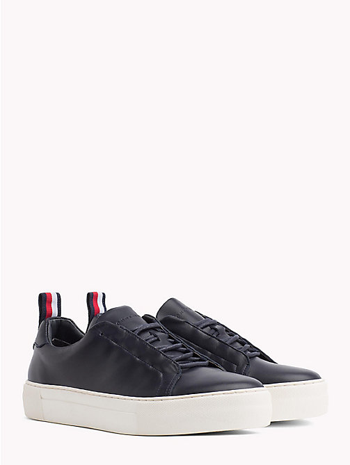 TOMMY HILFIGER Leather Cupsole Trainers - MIDNIGHT - TOMMY HILFIGER Shoes - main image