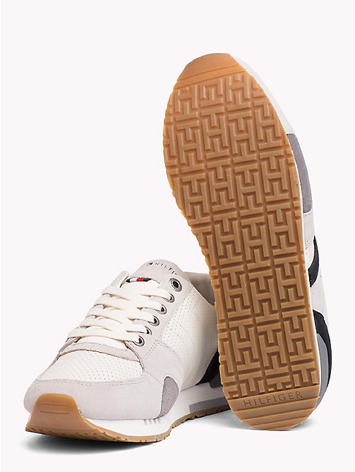 TOMMY HILFIGER Perforated Suede Trainers - ICE - TOMMY HILFIGER Best Sellers - detail image 1