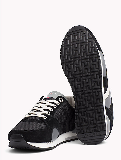 TOMMY HILFIGER Colour-Blocked Material Mix Trainers - BLACK - TOMMY HILFIGER NEW IN - detail image 1