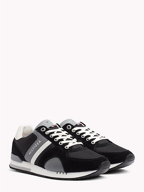 TOMMY HILFIGER Colour-Blocked Material Mix Trainers - BLACK - TOMMY HILFIGER NEW IN - main image
