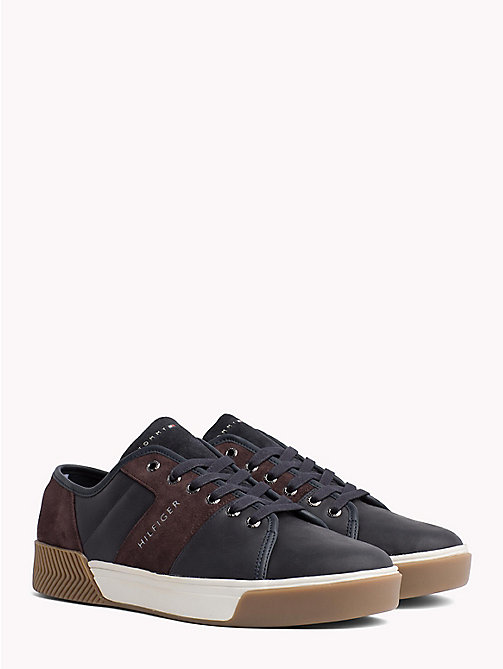 TOMMY HILFIGER Leather Mix Low-Top Trainers - MIDNIGHT - TOMMY HILFIGER Trainers - main image