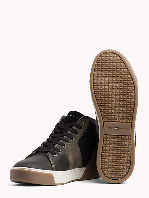 TOMMY HILFIGER Leather Mix High-Top Trainers - OLIVE NIGHT - TOMMY HILFIGER Trainers - detail image 1