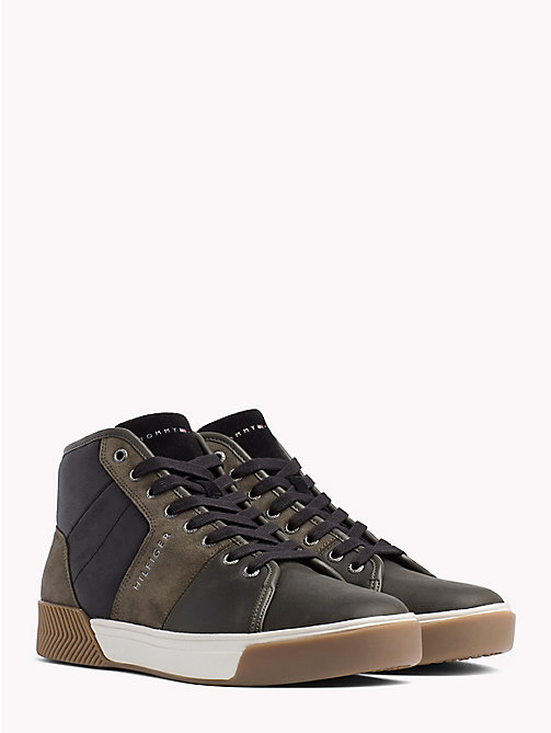 TOMMY HILFIGER Leather Mix High-Top Trainers - OLIVE NIGHT - TOMMY HILFIGER Trainers - main image