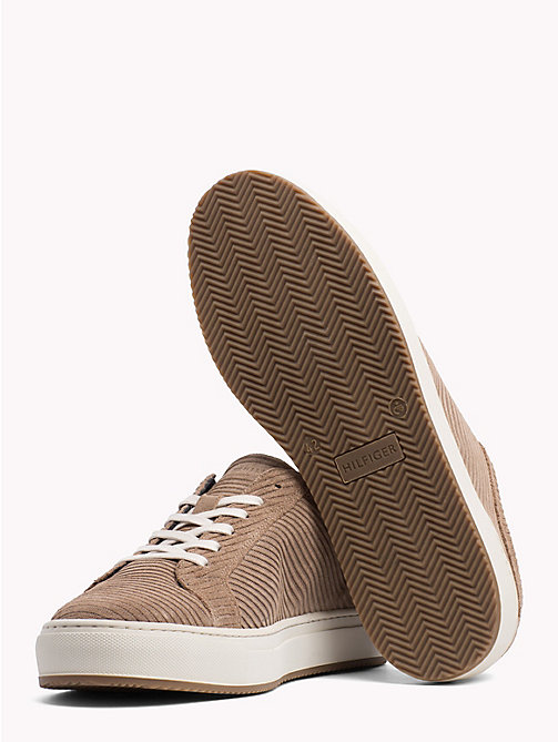 TOMMY HILFIGER Ribbed Texture Suede Trainers - TAUPE GREY - TOMMY HILFIGER Shoes - detail image 1