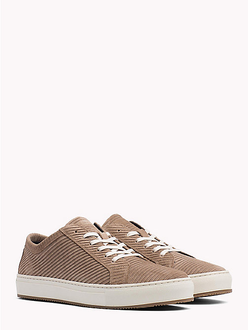 TOMMY HILFIGER Ribbed Texture Suede Trainers - TAUPE GREY - TOMMY HILFIGER Shoes - main image