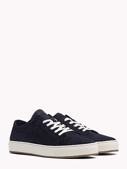 TOMMY HILFIGER Ribbed Texture Suede Trainers - MIDNIGHT - TOMMY HILFIGER Shoes - main image