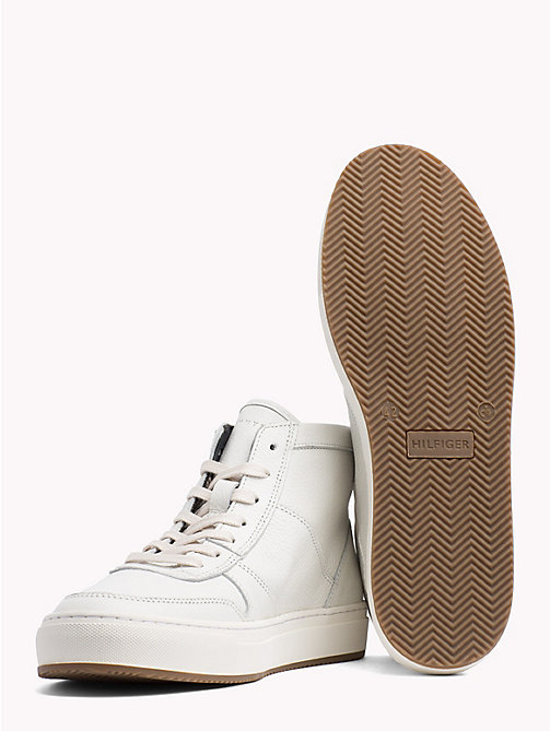 TOMMY HILFIGER Pebbled Leather Mid-Cut Trainers - OFF WHITE - TOMMY HILFIGER Shoes - detail image 1
