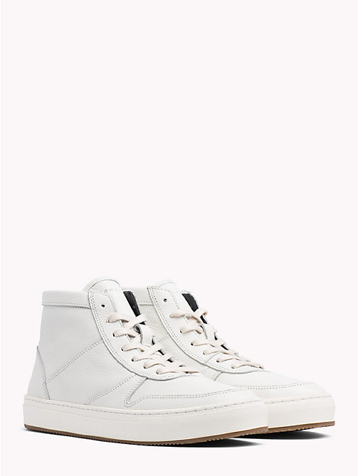 TOMMY HILFIGER Pebbled Leather Mid-Cut Trainers - OFF WHITE - TOMMY HILFIGER Shoes - main image