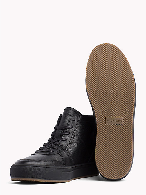 TOMMY HILFIGER Pebbled Leather Mid-Cut Trainers - BLACK - TOMMY HILFIGER NEW IN - detail image 1