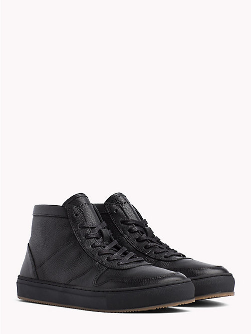 TOMMY HILFIGER Mid-Top Sneaker aus Narbenleder - BLACK - TOMMY HILFIGER NEW IN - main image