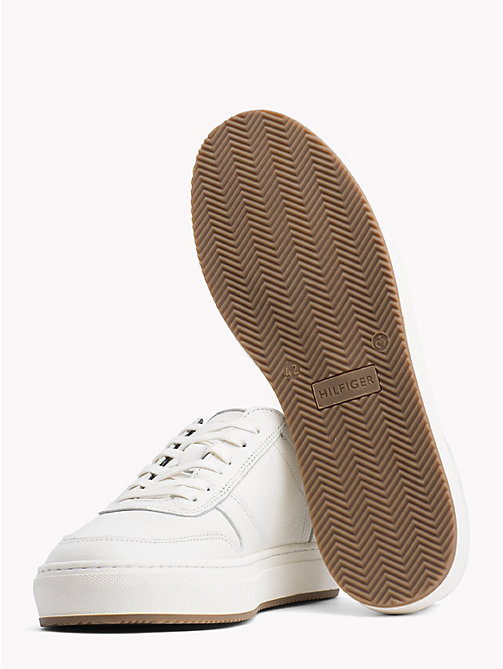 TOMMY HILFIGER Pebbled Leather Low-Cut Trainers - OFF WHITE - TOMMY HILFIGER Shoes - detail image 1