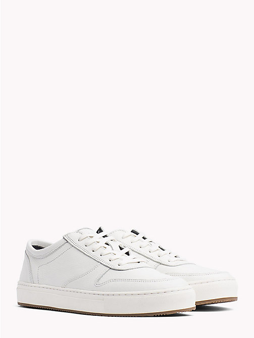 TOMMY HILFIGER Pebbled Leather Low-Cut Trainers - OFF WHITE - TOMMY HILFIGER Shoes - main image