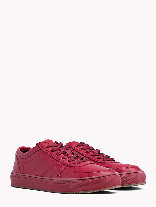 TOMMY HILFIGER Pebbled Leather Low-Cut Trainers - SCOOTER RED - TOMMY HILFIGER NEW IN - main image