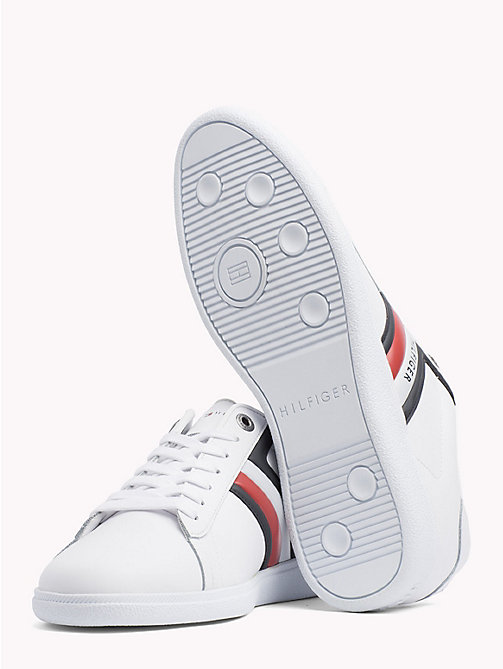 TOMMY HILFIGER Colour-blocked leren sneaker - WHITE - TOMMY HILFIGER Best Verkocht - detail image 1