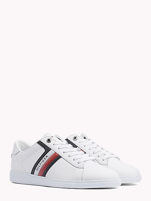TOMMY HILFIGER Colour-Blocked Leather Trainers - WHITE - TOMMY HILFIGER Trainers - main image