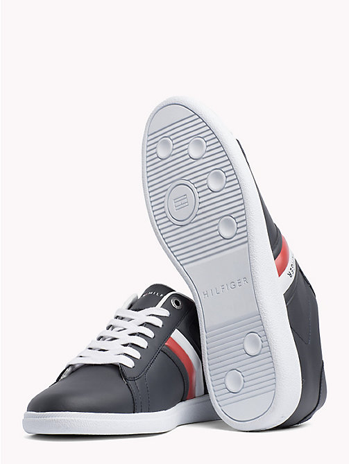 TOMMY HILFIGER Colour-blocked leren sneaker - MIDNIGHT - TOMMY HILFIGER NIEUW - detail image 1