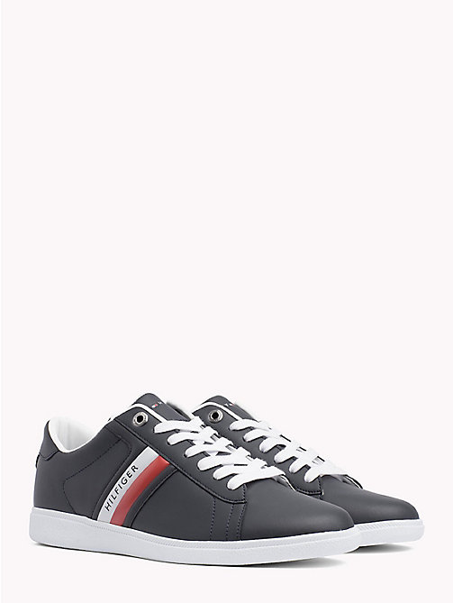 TOMMY HILFIGER Colour-Blocked Leather Trainers - MIDNIGHT - TOMMY HILFIGER Shoes - main image