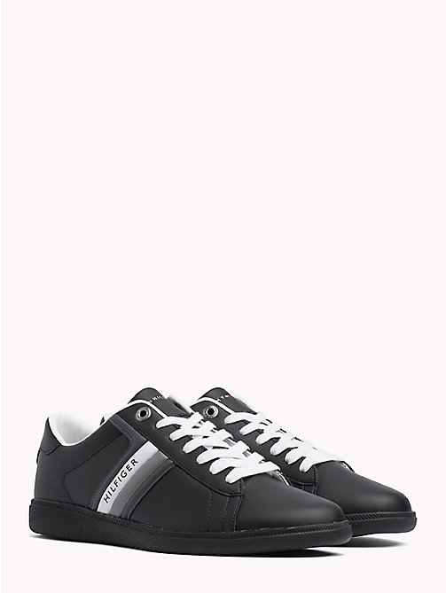 TOMMY HILFIGER Colour-Blocked Leather Trainers - BLACK - TOMMY HILFIGER Trainers - main image