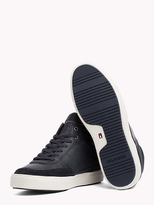TOMMY HILFIGER Leather Mix High-Top Trainers - MIDNIGHT - TOMMY HILFIGER Trainers - detail image 1