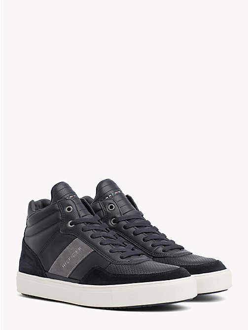 TOMMY HILFIGER Leather Mix High-Top Trainers - MIDNIGHT - TOMMY HILFIGER Shoes - main image