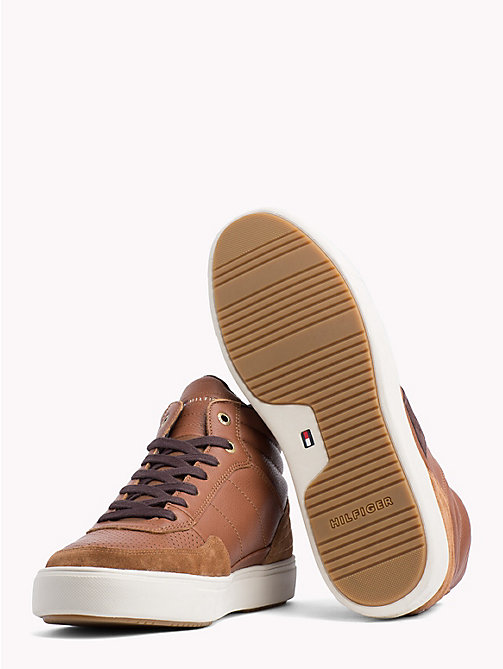 TOMMY HILFIGER Leather Mix High-Top Trainers - COGNAC - TOMMY HILFIGER Shoes - detail image 1